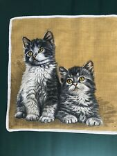 """Kb Vintage Hankie kitty cat twins with golden eyes and background 11"""""""