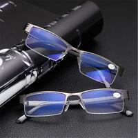 Cool Men's Half frame Blue Film Designer Anti-radiation Reading glasses +1 To +4