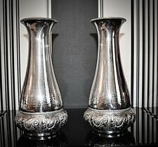More details for wmf exceptionally beautiful pair of art nouveau silver plated vases, signed 1903