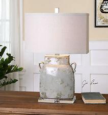 "MELIZZANO 25"" IVORY GRAY CERAMIC FRENCH VASE SHAPE TABLE LAMP CRYSTAL FOOT"
