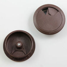 10 x BROWN COMPUTER DESK HOLE 52mm GROMMET COVER CABLE WIRE TIDY  OFFICE H484