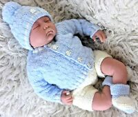 DK Baby knitting pattern instructions to knit boys easy cardigan hat booties set