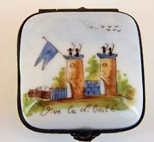 """French Porcelain Hand Painted Hinged Box - French Castle , """" Long Live Freedom"""""""
