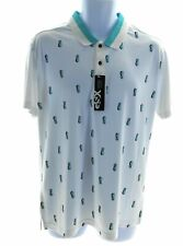 GSX Mens Short Sleeve Polo Whit with Blue Pineapples MSRP $60
