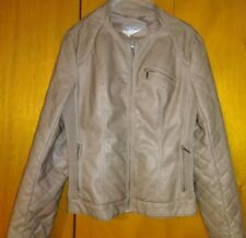Vanity Women's Beige Faux Leather Jacket Size Large