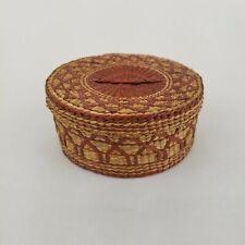 "Vtg Sweet Grass Basket Natural Woven Round With Lid 5.25"" Diameter Trinket Box"