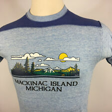 Vintage 70s 80s Rayon Tri Blend Heather Blue Mackinaw Island Michigan T Shirt