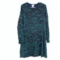 Carmen Marc Valvo Women's Size L Cheetah Leopard Print Knit Sheath Midi Dress