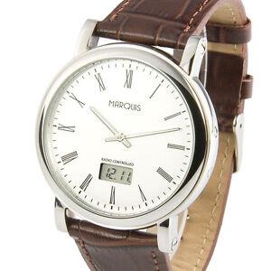 Elegante Herren Funkuhr (deutsches Funkwerk) Armbanduhr Lederband 964.6066