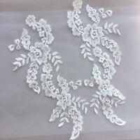 1 Pair Applique Lace Trim Embroidery Sewing Motif DIY Wedding Bridal Crafts NR7