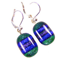 DICHROIC Glass Earrings Green Blue Striped Patterned Euro Lever Dangle 1/2""