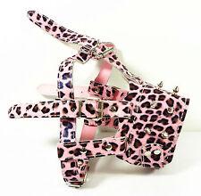 Spiked Pink Leopard Leather Dog Muzzle Adjustable PitBull Terrier Doberman Husky