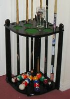 CORNER MAHOGANY WOODEN 10 CUE RACK STICK STAND SNOOKER POOL TABLE BALLS  2nds