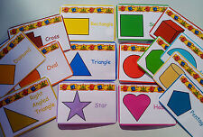 BASIC SHAPES - 16 FLASH CARDS - EYFS - FIRST LEARNING- TEACHING RESOURCE