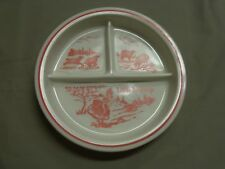 Vintage Fire King Vitrock Red Little Bo Peep Divided Childs Baby Dish Plate