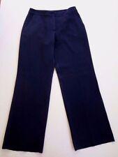 ST. JOHN Dress Pant SZ 6  Navy Imported Fabric Smooth Flat Trouser Leg Vintage