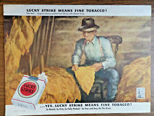 1943 Lucky Strike Cigarette Ad Old Belt Birginia Tobacco Painted by Curry