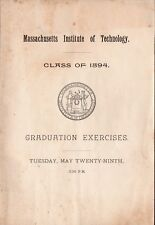 M.I.T. Mass Institute of Technology - 1894 College Graduation Exercises Booklet