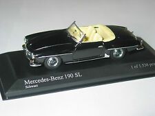 Mercedes 190SL W121 ROADSTER  BLACK   1/43 Minichamps VERY RARE