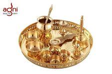 Brass Pooja Thali Set (12 inch, Gold)