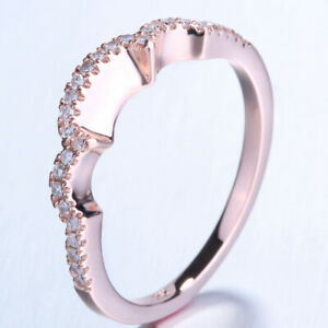 Engagement Anniversary 0.2CT Natural Diamond Match Band Ring Solid 14K Rose Gold