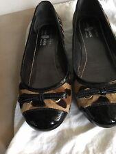 The Original Car Shoe 38 1/2 ballet flat New hair on hide + black patent leather