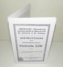 Victor Victrola 220 Gramophone Phonograph  Instruction Manual Reproduction