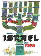 """TWA Airlines ( ISRAEL ) 11"""" x 17"""" Collector's Travel Poster Print - B2G1F"""