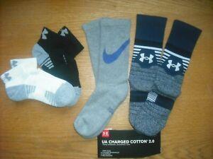 Boys NWT Under Armour NIKE Low-Cut & Crew Socks 4prs Black Navy Gray Ages 7-10