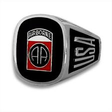 US Army 82nd Airborne Rhodium Heavy Plated Engraved Ring