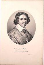 Lithographie de Ducarme, Portrait du Cardinal de Retz