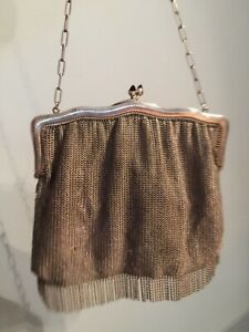 Antique European silver with silver lining chain mail large  evening bag purse
