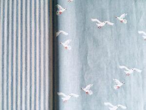 "Emily Bond Seagulls & Stripe blue bundle 2 * FQ 50cm 20"" Square Lightweight New"