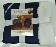 "Harry Potter 2-In-1 Crest Sherpa Back Duvet Cover & Blanket ~ Twin ~ 64"" x 86"""