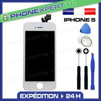 VITRE TACTILE IPHONE 5 BLANCHE + ECRAN LCD SUR CHASSIS + OUTILS + NOTICE