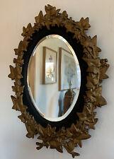 Fine Antique 19th Century Gilt Brass Black Forest Grape And Vine Oval Mirror