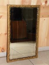 Vintage Art Nouveau Gold Gilt Gesso Wood Frame Silvered Beveled Wall Mirror