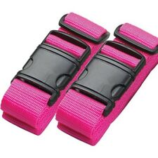 2 x Pink High Visibility Adjustable Strong Safety Travel Suitcase Luggage Straps