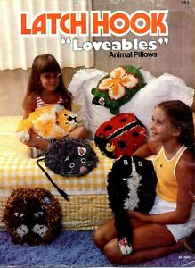 Latch Hook Loveables Large Animal Pillows to make Book Lion Mouse Lady Beetle