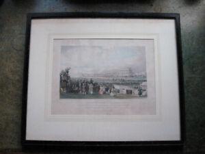 Epsom Derby 1842 - Hand Coloured Engraving - Framed - Horse Racing