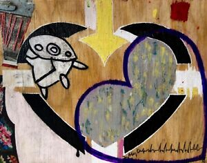 THE VEINS OF IT ALL Collage Art Heart White Painting - Steven Tannenbaum TAO-e