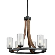 Kichler Grand Bank Chandelier 6Lt, Auburn Stained, Clear Seeded - 43193AUB