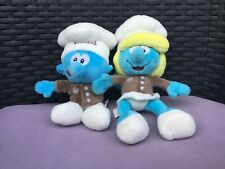 2 x Neuhaus Chocolate Male and Female Plush Smurfs