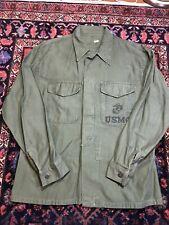 Vintage 70s Vietnam Era Usmc Marines Military Button Up Shirt Inside Pocket