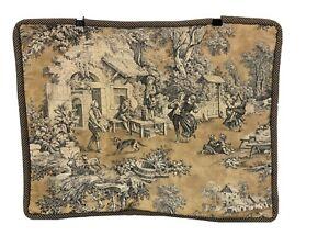 Custom Gold Black French Toile Country Scene Standard Pillow Sham Cover