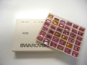 12 vintage swarovski double cut baguette stones,12x10mm rose #4510