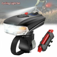 Rechargeable Bicycle LED Headlight USB Bike Head Light Front +Rear Lamp Cycling