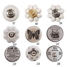 Möbelknopf Porzellan Möbelknauf Schwarz-Weiß Keramik Vintage Griffe Knöpfe Knauf