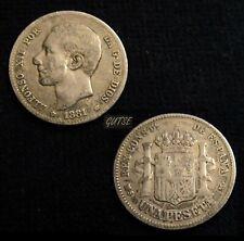 SPAIN, 212-ALFONSO XII, 1 PESETA 1881*--81, MADRID MS M, SILVER, VF, RARE.