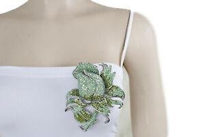 Women Silver Metal Fashion Jewelry Bling Brooch Rose Green Flower Elegant Pin